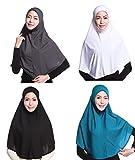 GladThink 4 X Full Cover Womens Muslim Hijab Caps Islamic Scarfs Set No.4