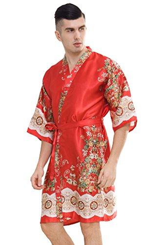 (samurai JP Men's Kimono Robe Style Satin Relaxation Bathrobe with Towel (Fire Dragon))