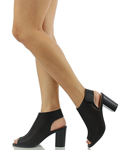 Marco Republic Tuscany Womens Peep Toe Chunky Block Stacked Heels Sandals Pumps Booties Pumps