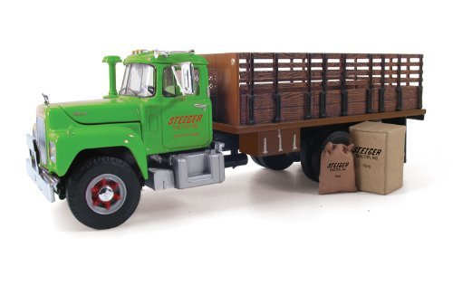 First Gear 1/34 scale Diecast Collectible Steiger Tractor Inc. Mack R-Model Stake Truck with Box & Cloth Sack (#19-3914)