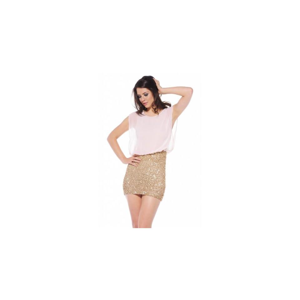 AX Paris Womens Sequin Skirt Dress With Chiffon Top