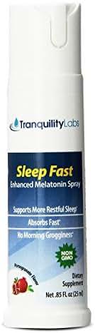 Tranquility Labs' Sleep Fast Oral Melatonin Spray, 32 Doses, Enhanced with Valerian Root, Lemon Balm, Chamomile, B6 Calming Blend, Pomegranate Flavor