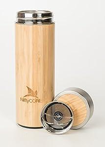 Premium bamboo travel tea tumbler by niftycore - Travel mug stainless steel interior ...