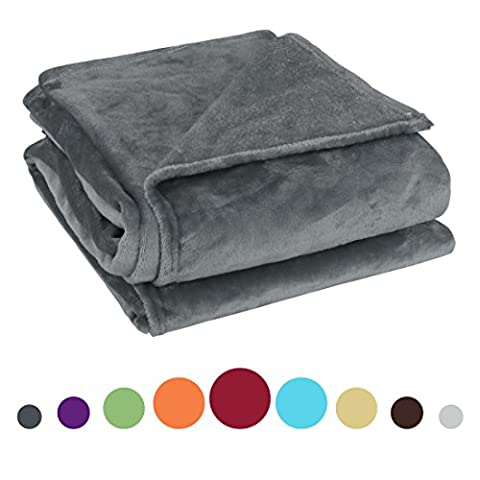 uxcell 260 Grams Super Soft Warm Rug Luxury plush Fleece Throw Blanket, Suitable for Chair or Bed, Machine Washable,Dark Gray, 180 x 200 cm (71