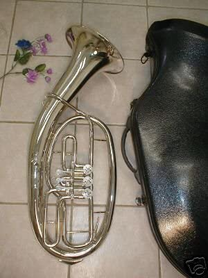 Silver, Baritone with hard case and mouhpiece 3 Rotary valve