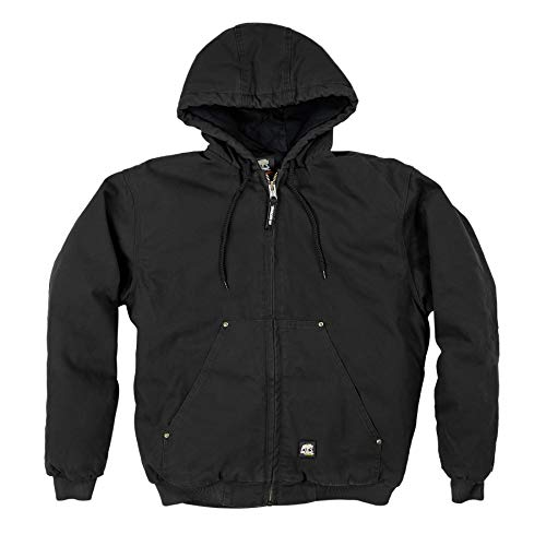 Berne HJ375 Men's Original Washed Hooded Jacket - Quilt Lined, Black - 3X-Large ()