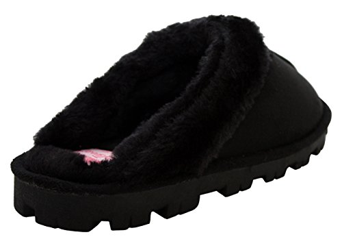 Womens Ladies Slip On Warm Faux Fur Lined Girls Winter Cosy Mules Slippers UK size 3-8 Black 3QovelB