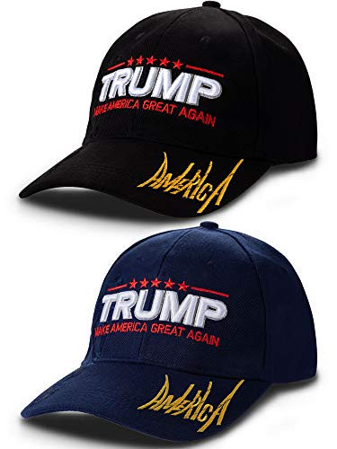 2 Pieces Donald Trump 2020 Hats Embroidery Campaign Hats Adjustable America Trump Caps for Men and Women Wearing Supplies (Color 15)