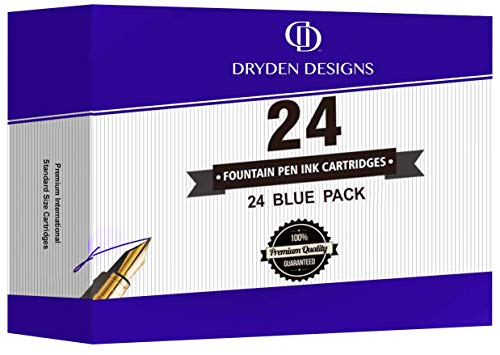 Dryden Fountain Pen Ink Cartridges - SET OF 24 BLUE INK CARTRIDGES - Short International Standard Size - Disposable and Generic Ink Refill Cartridges - Perfect for Calligraphy