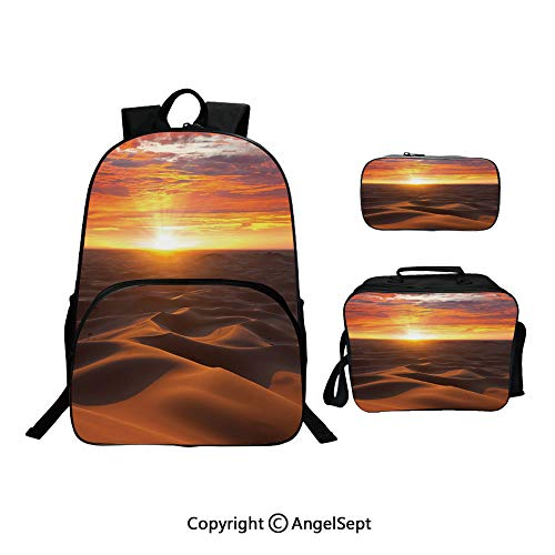 Sahara Wicker - Cute Kids Toddler School Waterproof 3D Cartoon 15.7inches,Dramatic Sunset Scenery at Sahara Dunes Arid Landscape Morrocco Summer Nature Gold Yellow Coral,With Lunch Bag Pencil Bag Three-piece