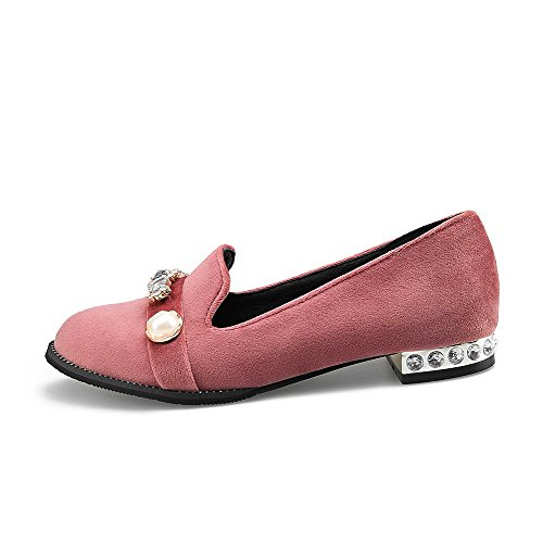 AllhqFashion Damen Blend-Materialien Rund Zehe Niedriger Absatz Ziehen auf Rein Pumps Schuhe Pink