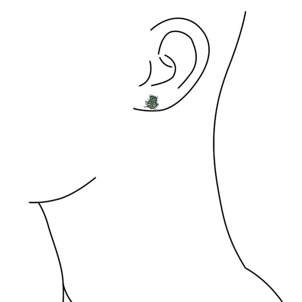 Garden Green Frog Todd Cubic Zirconia Pave CZ Stud Earrings For Women For Teen 925 Sterling Silver