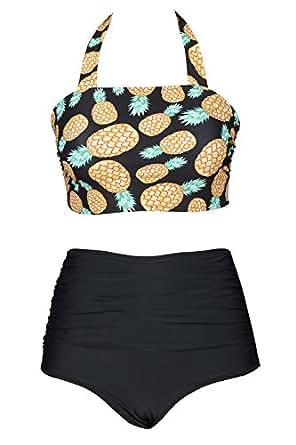 Cupshe Fashion Women's Pineapple Printing High-waisted Halter Padding Bikini Set (S), Multicolor