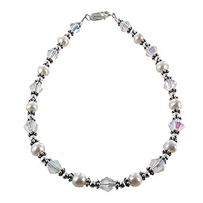 Discount Timeless-Treasures Womens Genuine Fresh Water Cultured Pearls, Clear Bicone Crystal & Sterling Anklet with Daisies hot sale