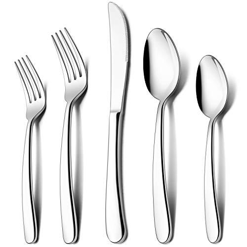 LIANYU 60-Piece Heavy Duty Silverware Set, Stainless Steel Flatware Cutlery Set for 12, Heavy Weight Eating Utensils Set…