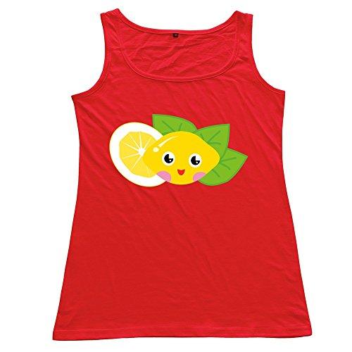 Red VAVD Lemon Women's Funny Tops Size XXL