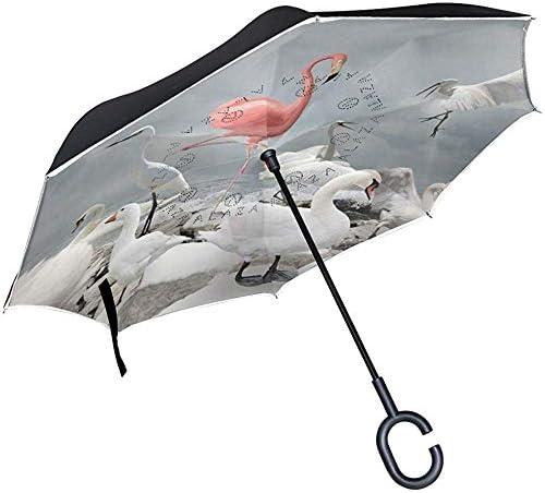 Wheatleya Flamingo und White Birds Reverse Taschenschirm Winddichter UV-Regen für den Außenbereich mit C-förmigem Griff
