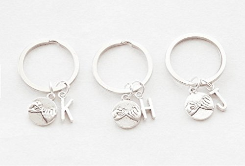 (Set of Three Pinky Swear Keychains 3 Best Friend Keychains BFF Keychains Personalized monogram Accessories Friendship Key rings Accessories)