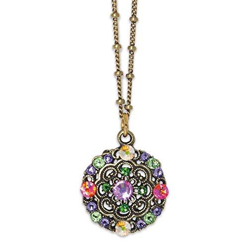 Anne Koplik Antique Brass Swarovski Crystal Multi Color Openwork Medallion Pendant Necklace