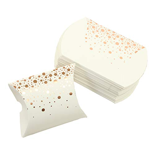 Andaz Press Pillow Favor Boxes, Shiny Rose Gold Foil Polka Dot in Bulk 50-Pack Count, Party Favor Candy Gift Boxes for Wedding Favors, Bridal Shower, Kids Birthday, Baby Shower, Grad Party, Baptism]()