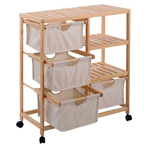 Wood Hamper Unit W/4 Fabric Drawers 2 Section Table Display Organizer Unit Cabinet Shelf Dresser Sliding Cloth Fabric Storage Bins Chest Drawers Free Standing Side Floor Kitchen Bed Side (U.S. Stock)