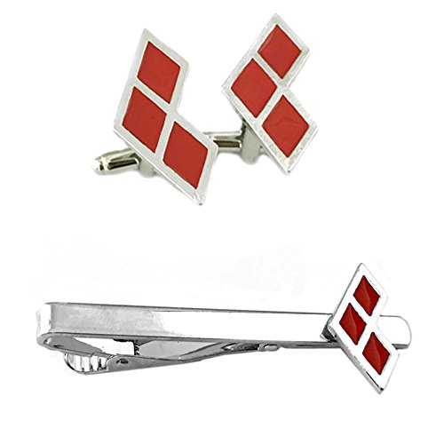 Outlander DC Comics - Harley Quinn Diamond Cufflink & Tiebar - Set of 2 Wedding Superhero Logo w/Gift Box by Outlander