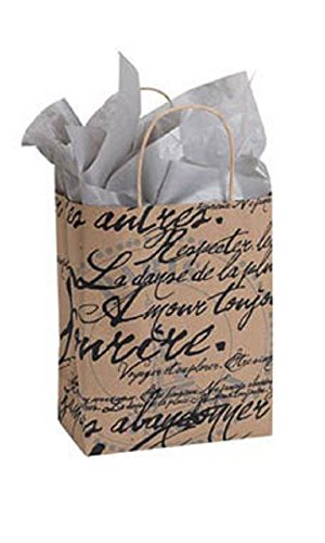 Medium Paris Script Paper Shopping Bags - Case of 100 by STORE001