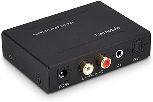 kwmobile 3x1 Toslink Switch mit Audio Decoder - unterstützt DTS 5.1 und AC3-3X Toslink zu 1x Cinch 1x 3.5 mm 1x Toslink - Digital zu Analog Wandler