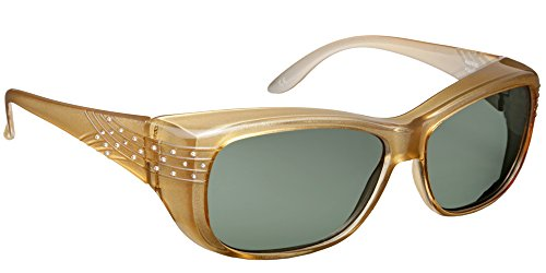Haven Fitover Sunglasses Morgan in Champagne Crystal & Polarized Grey - Sunglasses Haven