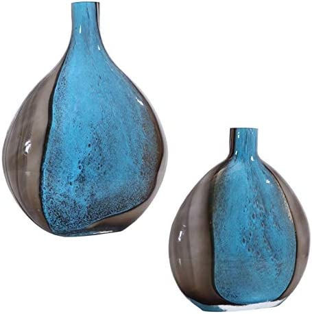 Uttermost Adrie Cobalt Blue Black Art Glass Vases Set of 2