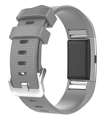 For Fitbit Charge 2 Bands, New Bracelet Strap Replacement Band Wristband with Secure Silicone Fasteners Metal Clasps for Fitbit Charge 2 (No Tracker) (Grey, 5.5 - 8.1 Inches wrist)