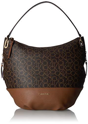 Calvin Klein Mercy Signature Hobo, Brown/Khaki/Luggage Saffiano Calvin Klein Hobo Bag