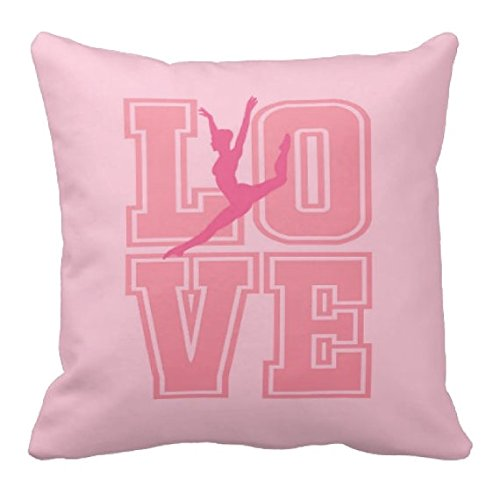 Dance Throw out Pillow & Cover, Custom LOVE, Bedding for Dancers, Navy Blue, Coral, White or ANY COLOR, 14x14