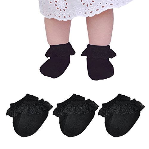 Epeius 3 Pairs Baby-Girls Eyelet Frilly Lace Socks Infants Girls Black Princess Ankle Socks for 6-12 Months ()