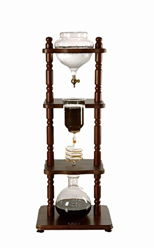 Yama Glass 6-8 Cup Cold Drip Maker Curved Brown Wood Frame (Brown Cups Coffee Glass)