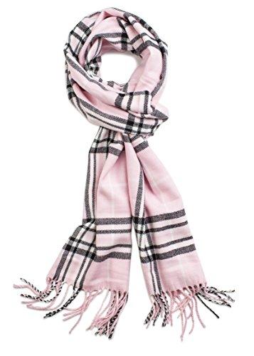 Veronz Soft Classic Cashmere Feel Winter Scarf, Pink Plaid