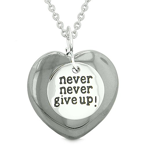 (Amulet Never Give Up Inspirational Puffy Magic Lucky Heart Charm Hematite Pendant 18 inch Necklace)