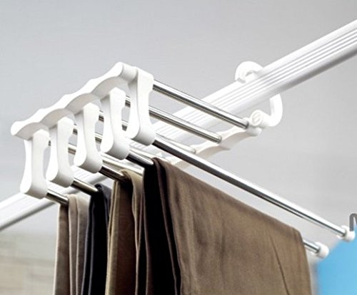 スラックス ハンガー 5連 折り畳み 便利 パンツ 収納 5本 (1, ホワイト シルバー)