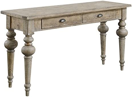 Emerald Home Interlude Sandstone Gray Sofa Table with Two Drawers, Plank Style Top, and Turned Legs Grey Standard Rectangle Casual Rectangle