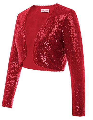 Classic Sequins Jackets Cardigan Sparkly Clubwear(S,Red) -