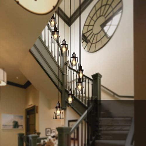 AME Araña Retro Industria de Hierro Hierro Hierro Araña Lámparas Luces Larga Escalera de Caracol,40 * 200 cm: Amazon.es: Deportes y aire libre