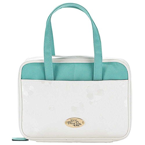 White and Teal 7.3 x 10 inch Leather Like Vinyl Bible Cover Case with Handle Medium (Womens Vinyl Briefcase)
