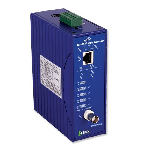 Ethernet Coaxial Extender, 10/100, Din Rail ()