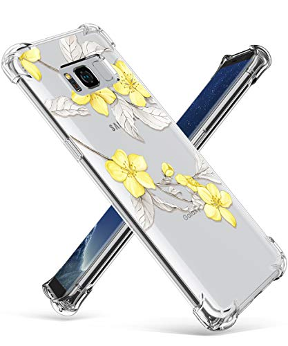 GVIEWIN Compatible for Samsung Galaxy S8 Case, Clear Flower Pattern Design Soft & Flexible TPU Ultra-Thin Shockproof Transparent Floral Cover, Cases Samsung Galaxy S8 (Yellow Flowers/White)