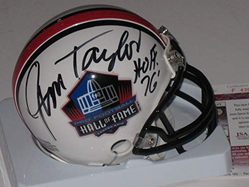 (Jim Taylor Autographed Signed Pro Football Hall of Fame Mini Helmet (JSA COA))