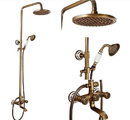 ROZIN Luxury Ceramic Style Bathroom Shower Faucet Set Antique Brass ...