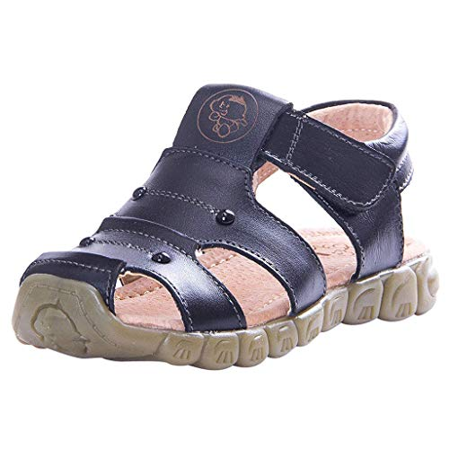 - Respctful✿Kids' River Fisherman Sandal Closed-Toe Outdoor Water Sandals Summer Breathable Leather Toddler Sandals Black