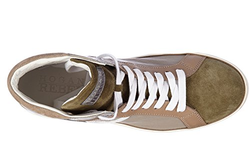 Hogan Rebel chaussures baskets sneakers hautes homme en cuir rebel r141 vintage