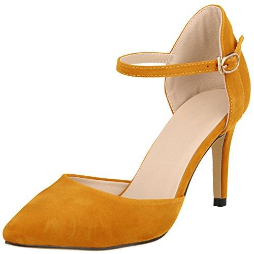 Confort Sandales Escarpins Soirée Femme Taille wealsex 40 Elégant Grande Orange 42 Mariage Bride Pointu Moyen Boucles Bout 41 Chaussure Cheville Suédé Talons Aiguilles YS4Cqqnxw