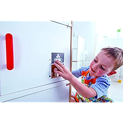 Hape Gourmet Kitchen Wooden Fridge | Cabinet Style Refrigerator Fridge Freezer with Ice Dispenser, Unique Toy Kitchen Playset for Kids: Toys & Games